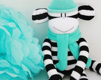 Monochrome Sock Monkey with Aqua Hat Black and White Baby Toy