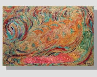 """Peinture abstraite contemporaine à l'acrylique sur toile. """"Chatoiement"""", tableau peinture texturée métallisée, orangé vert turquoise. chat"""