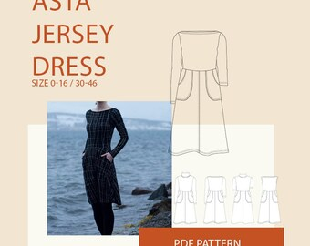 jersey dress pattern long sleeve dress pattern pdf, sleeveless dress pattern women, summer dresses for women patterns  DIY clothing, modest
