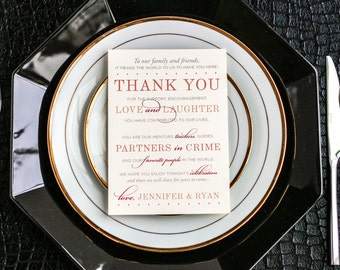 """Orange, Peach and Coral, Chic Decor, Thank You Cards, Rustic Wedding - """"Classic Elegance"""" Reception Thank You Sign 5x7 - DEPOSIT"""