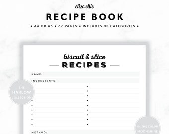 RECIPE BOOK / Recipe Planner / 2018 Planner / Recipe Printable / Recipe Pages / Recipe Journal / The Harlow Planners in Moonshine / 421