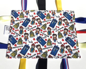 READY TO SHIP Doctor Who baby blanket - Doctor Who lovey blanket - Doctor Who taggie blanket - Doctor Who baby shower gift