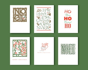 Set of 6 Letterpress Holiday Cards with Envelopes