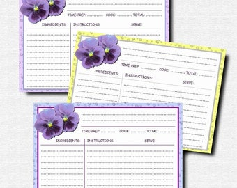 Recipe cards, Digital, Printable and editable, Recipe pages, Recipe book making supplies, Scrap booking, kit, Dew on the violets,