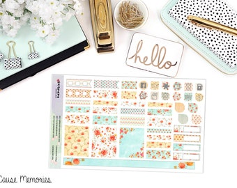 Watercolor Poppies - B6 MONTHLY KIT - Paper Planner Stickers