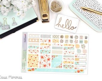 KIT aquarelle coquelicots - B6 mensuel - papier Planner Stickers