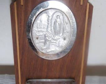 Antique clam style Art Deco marquetry clam Locket pewter, glass and stainless steel base, Immaculate Conception, Lourdes, France