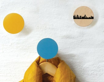 NEW YORK dots coat hook, New York wall knobs, wooden coat racks, Wall Hanger, gift wedding, housewarming, entrance hall, bedroom, kitchen