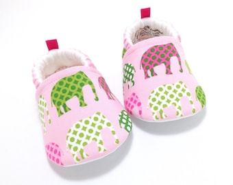 Elephant Baby Shoes, Soft Sole Baby Shoes, Pink Baby Booties, Toddler slippers, baby girl gift, baby shower gift