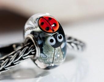 Small Core Ladybug  Artisan Bead SRA Lampwork Beads BHB
