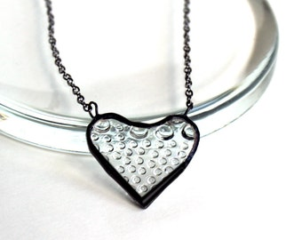 Raindrops Clear Heart- Stained Glass Jewelry Necklace