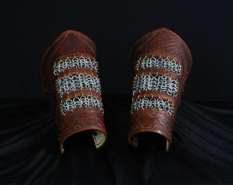 CUSTOM Hand-tooled leather bracers, with optional chainmaille