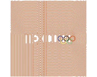 "MEXICO 68 Olympics Poster Mexico City Olympic Games ORANGE Ultra-High Quality Giclee Archival Print 24"" x 24"""