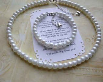 Pearl Jewelry Set, Pearl Flower Girl Jewelry Set, Pearl Bridesmaid Jewelry, Pearl Maid of Honor Jewelry, Pearl Childrens Jewelry, Kids Gifts