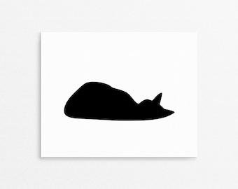 Cat Art Print, Black Cat Poster, Cat Lover Gift, Minimalist Art, Sleeping Cat Print, Black And White Decor, Black Cat Print, Wall Art Cat