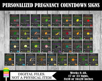 PRINTABLE Pregnancy Countdown Signs-Countdown To Baby-Baby Countdown Chalkboard-Weekly Pregnancy Countdown-Personalized Signs (weeks 8-40)