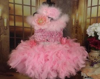 Pink feather Tutu dress, flower girl,pageant, ballerina,birthday, wedding, theme wear,glitz,dance costume 0-8years