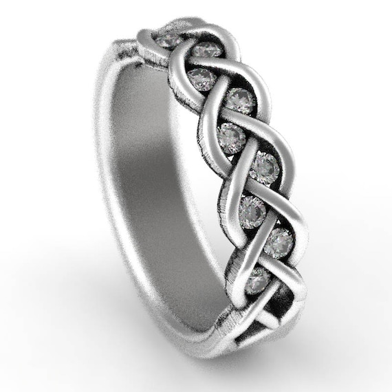 Celtic Wedding Moissanite Stone Ring With Braided Knot Design in Sterling Silver, Made in Your Size CR-1005