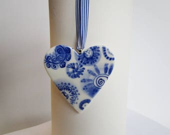 Porcelain  Heart -  Blue and white Delft Blue Wall hanging/ornament-  floral