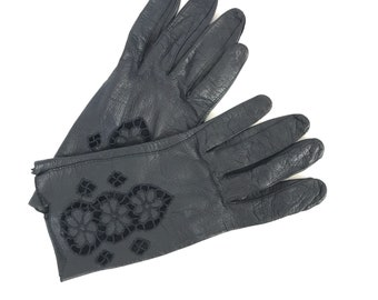 Embroidered leather gloves // black leather gloves