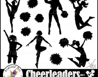 Cheerleader Silhouettes - 11 png & jpg  digital cheerleader clipart graphics {Instant Download}