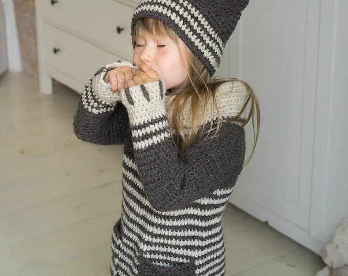 CROCHET PATTERN cat or tiger sweater and hat set Tigger with collar, pockets and claws  (toddler and kids sizes)