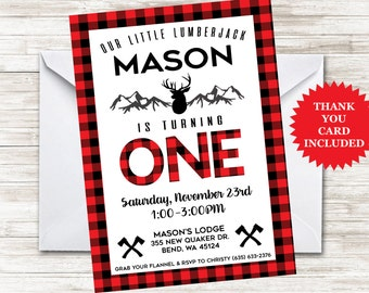 Lumberjack First Birthday Invite Invitation Plaid Hunter Buffalo 5x7 Digital Personalized Any Age