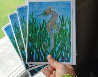 Seahorse Greeting Cards | Fine Art Cards | 5x7 | Blank Inside | Nautical Art Cards | Underwater Greeting Cards | Seahorse Stationery