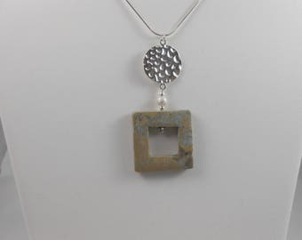 Aqua Terra Jasper with holes square, on 925 Silver Chain pendant necklace