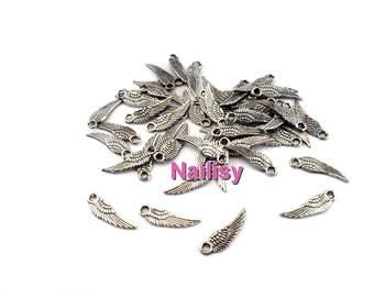 Set of 50 silver wings charms 1.7 cm REF2304