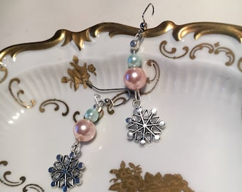 Baby Blue and Pink Winter Snowflake Earrings
