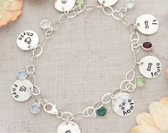 Personalized Grandma or Mother Charm Bracelet Birthstones, Mom Mom Charm Bracelet, Mother's Day Gift, Gifts for Her, Hand Stamped Bracelet