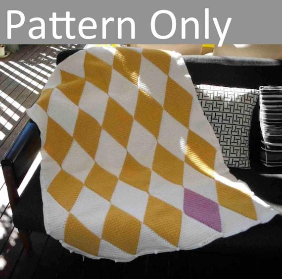 Crochet Pattern Harlequin Blanket Afghan Beginner Level