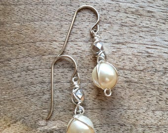 Wire-wrapped Swarovski pearl earrings embellished with Silver Czech Glass Beads - Beaded Earrings
