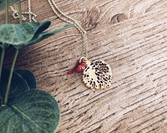 Necklace with pendant coral branch in brass and coral pendants