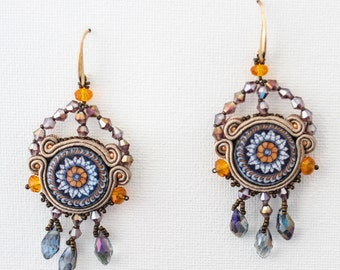Soutache earrings with lava cabochon of Lapilli collection, multi colour crystals, chandelier earrings, azulejos