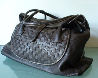 Desmo Made in Italy Chocolate Pebbled Leather Satchel