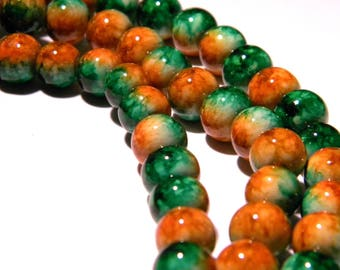 30 glass beads 2-tone marbled - 8 mm - and chocolate PG26 Green