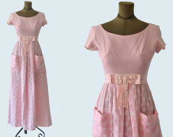 1960s Pink Polka Dot and Flower Dress size XS
