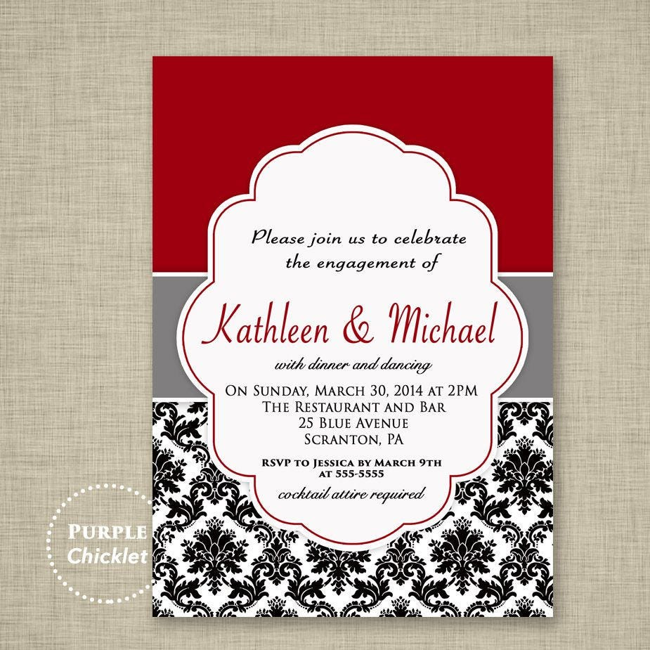 Wedding Engagement Dinner Party Invitation Red Black and White