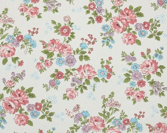 1960s Vintage Wallpaper by the Yard - Pink Aqua and Lavender Floral Chintz