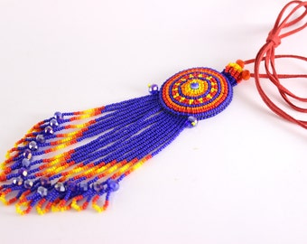 Beautiful Mexican Necklace, Huichol Necklace, Ethnic Necklace, Seed Bead Necklace
