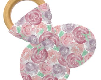 Non Personalized Teether - Mauve Rose Garden