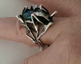 Sterling silver and opal hand made modernist ring