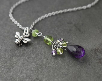 Bumble Bee Necklace, Peridot Necklace, Amethyst Necklace, Tiny Bee Necklace, Bee Jewelry, Amethyst Drop Necklace, Bridesmaids Necklace