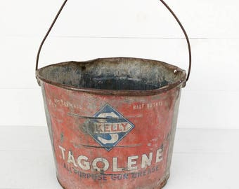 Galvanized Pail, Tagolene Grease Pail,  Garden Container, Zinc Farm Pail, Vintage Skelly Pail