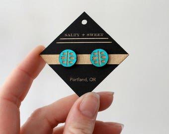 Laser cut earring | STUD: Turquoise Arrow