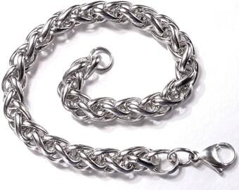 Bracelet braided pattern fantastic fashion jewelry gift 22cm stainless steel