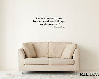 "Great Things... Wall Decal / Vincent van Gogh Quote Wall Sticker (36"" x 12.1"") / Artist Quotes / Bedroom Decor"