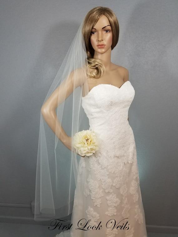 Ivory Wedding Veil, Bridal Waltz Veil, One Layer Plain Viel, Wedding Vail, Plain Veil, Bridal Accessory, Wedding Accessories, Bride, Wedding